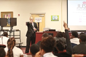 Josh Spickler, Asst. Public Defender speaking at Douglass H.S.