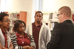 Spickler speaking to Douglass High School students