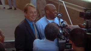 Shelby Co. Capital Defense team lead Gerald Skahan (left) with Timothy McKinney  outside the Shelby County jail.