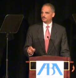 U.S. Attorney General Eric Holder speaking at ABA 2013 conference in San Francisco.  Photo by ABA.