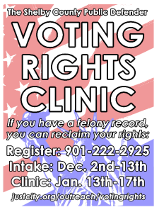 The Shelby County Public Defender hosts a Voting Rights Clinic from January 13-17, with support from U.Illinois College of Law.