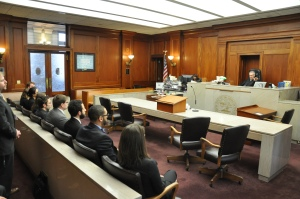 Law student volunteers observe voting rights restoration hearings in Shelby County Circuit Court.  Photo Courtesy: University of Memphis School of Law